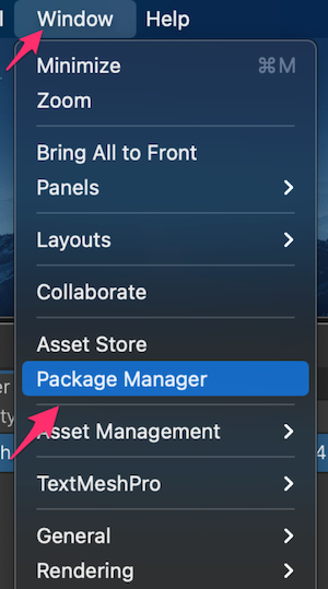 Unity:Windows→Package Manager