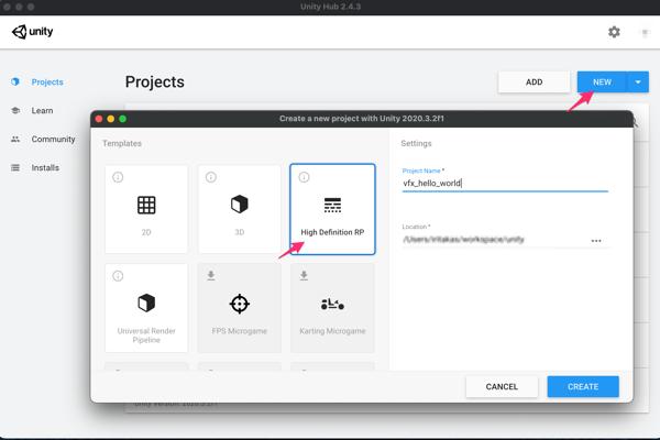 Unity Hub で HDRP セットアップ